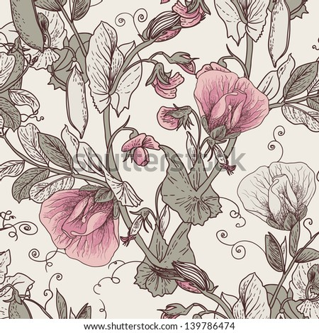 Seamless Floral Background with Blooming Peas The wallpaper in vintage style - stock vector