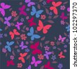 Seamless floral  background with butterflies - stock vector
