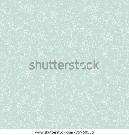 seamless floral   background with butterfly - stock vector