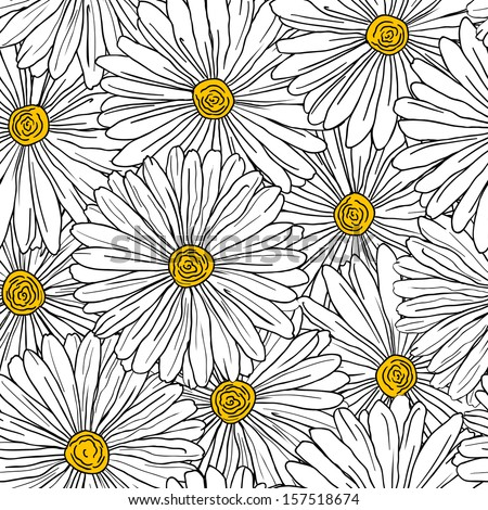 Seamless floral background with camomiles for design. Jpeg version also available in gallery - stock vector