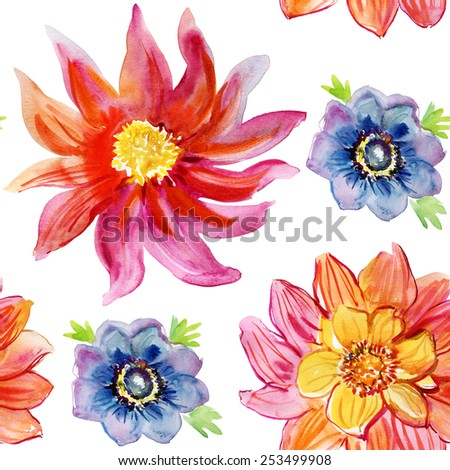 Seamless floral background with flowers. Hand painted watercolor painting. Vector. - stock vector