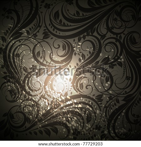 Seamless floral background with flowers pattern for wallpaper design, black. Vector eps 10. - stock vector