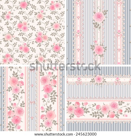 Seamless floral backgrounds and borders. Set of shabby chic style striped patterns with pink roses. - stock vector