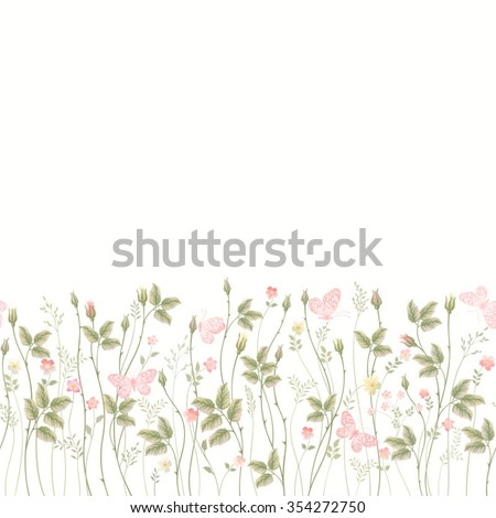 seamless floral border with roses and butterflies - stock vector