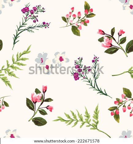 seamless floral branch vector pattern - stock vector