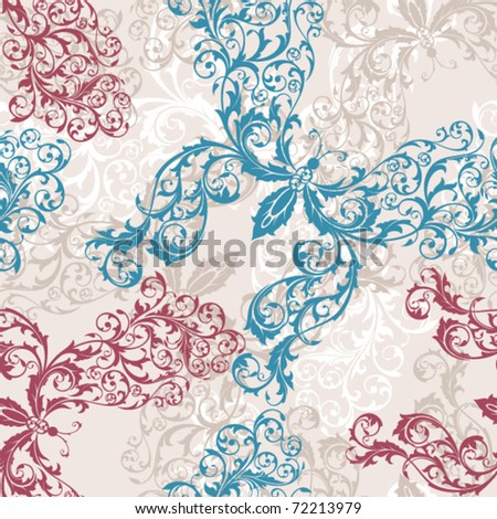 seamless floral butterfly background vector illustration - stock vector
