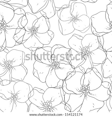 Seamless floral colored background. Black and white fabric texture. Floral vintage design. - stock vector
