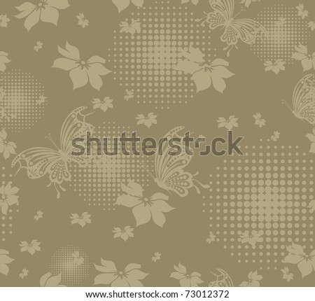 seamless floral creative decorative abstract background with butterfly - stock vector