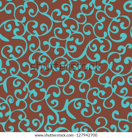 Seamless floral curly vintage background wallpaper, vector - stock vector