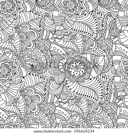 Seamless  floral doodle background pattern in vector.  Design asian, ethnic, tribal pattern. Black and white background. Coloring book. - stock vector