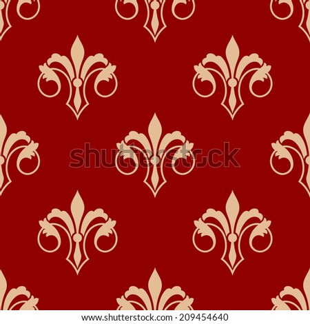 Seamless floral elegant fleur-de-lis royal gold lily pattern in antique style motif, yellow flowers over red background. Suitable for wallpaper, tiles and fabric design - stock vector