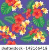 Seamless floral fashion pattern with beautiful hibiscus and orchid flowers. Vector illustration. - stock vector
