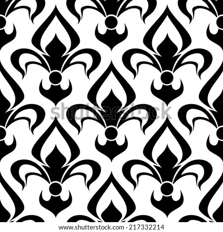 Seamless floral fleur-de-lis royal black lily pattern, isolated on white colored backdrop - stock vector