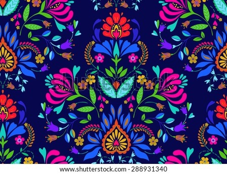 seamless floral folk pattern. slavic european style, bright colors, dark background. decorative flowers and ornaments, symmetric layout for interior or fashion textiles. - stock vector