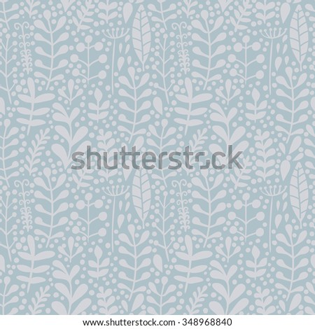 Seamless floral hand-drawn pattern, leaf and flower background (seamlessly tiling). Retro pattern with leaf. Organic ornament can be used as wallpaper - stock vector