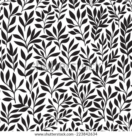 Seamless floral hand-drawn pattern, leaf background (seamlessly tiling). Retro pattern with leaf. Organic ornament can be used as wallpaper  - stock vector