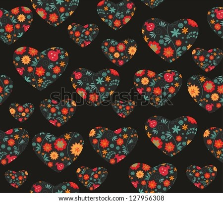 seamless floral heart pattern - stock vector