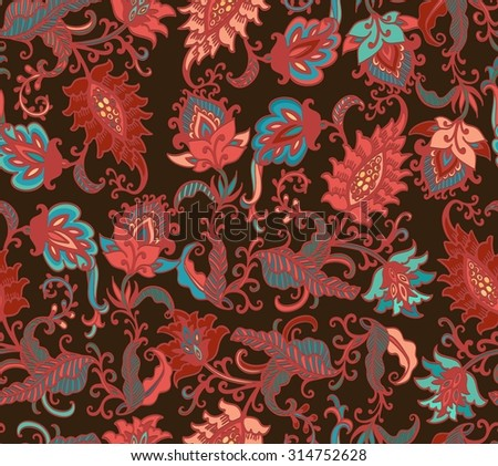 Seamless floral jacobean pattern - stock vector