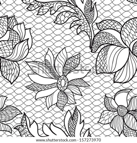 seamless floral lace - stock vector