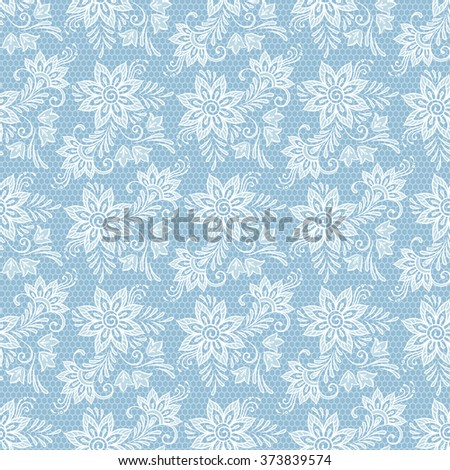 Seamless floral lace pattern. Flowers on blue background vector illustration - stock vector