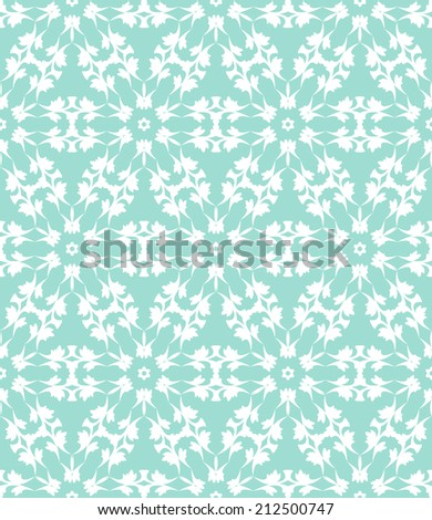 Seamless floral lace pattern on a green background