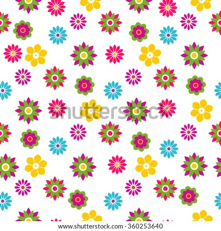 Seamless floral motley spring pattern with colorful flowers, vector  - stock vector