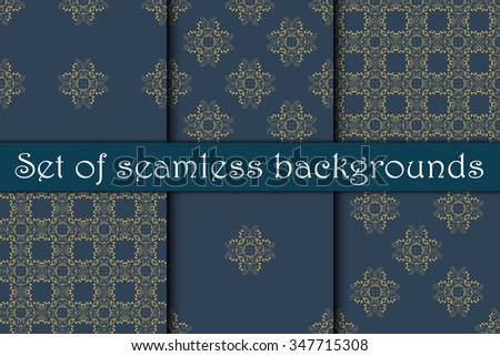 Seamless floral ornament on background. Set. Wallpaper pattern