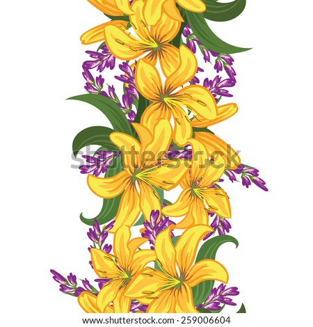 Seamless floral ornament. The original design of the strip of flowers can be used as a pattern and as a border . Vector illustration - stock vector