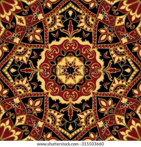 Seamless, floral, ornamental background. East, old ornament with golden lines. Template for carpet. Stylized medieval mosaics. Oriental, bright, rich pattern in dark colors. - stock vector