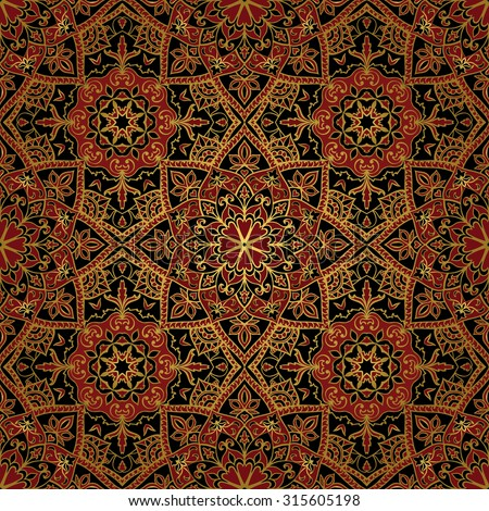 Seamless, floral, ornamental background. East, old ornament with golden lines. Template for carpet. Oriental, bright, rich pattern in dark colors. - stock vector