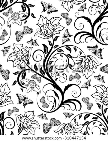 Seamless Floral Ornate  Pattern in Black and White Colors. Very Cute Background Design with Butterflies. Ideal for Textile Print and Decorative Wallpaper. Vector Illustration. - stock vector