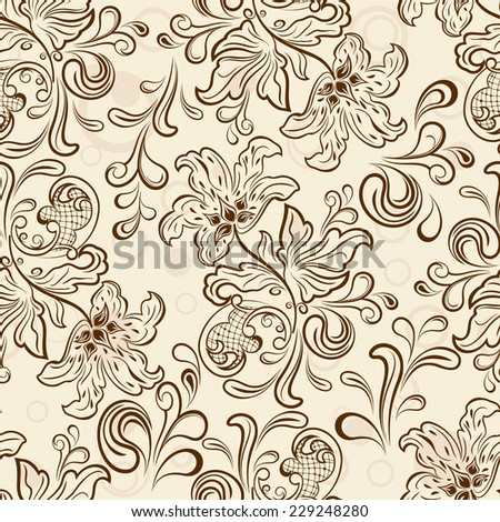 Seamless floral outline vector wallpaper pattern. - stock vector