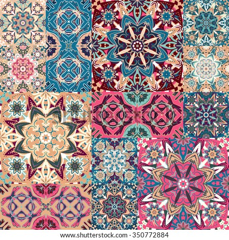 Seamless floral patchwork pattern. Vector checkered backgrounds set. Abstract textures with tile in east style. Blue pink brown ornament. - stock vector
