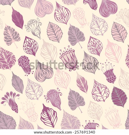 Seamless floral pattern. A lot of various ornate leaves and flowers. Can be used for wrapping paper.  - stock vector