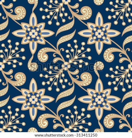 Seamless floral pattern. Abstract texture with branches, flowers and leaves. Vector background. - stock vector