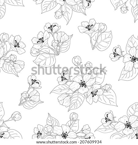 Seamless floral pattern, apple tree flowers, set black contours isolated on white background. Vector - stock vector
