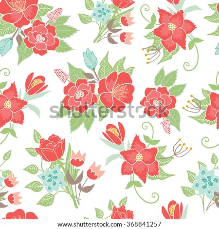 Seamless floral pattern background. Vector illustration with flowers and leaves.