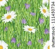 seamless floral pattern background with meadow flowers bluebell and chamomile on grass - stock vector