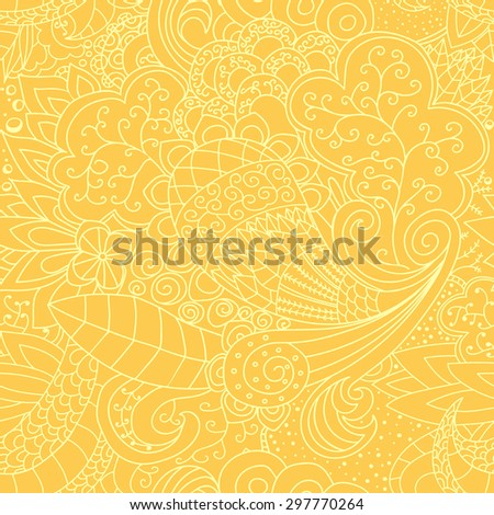 Seamless floral pattern. Background yellow and white contour vector texture with leaves and flowers. - stock vector