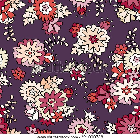 Seamless floral pattern. Beautiful flower wallpaper. Purple background. Vector abstract. - stock vector
