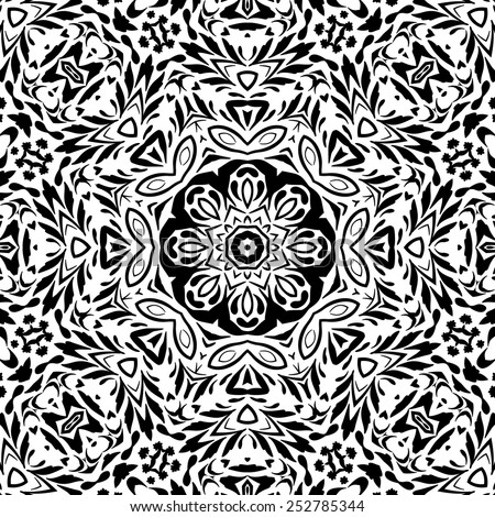 Seamless floral pattern, black contours isolated on white background. Vector - stock vector