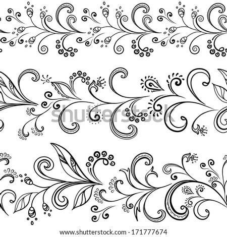 Seamless floral pattern, black symbolical contour flowers on white background. Vector