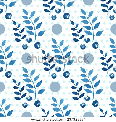 Seamless floral pattern. Blue twigs, leaves, foliage and little circles on a white background, watercolor, ink.  - stock vector