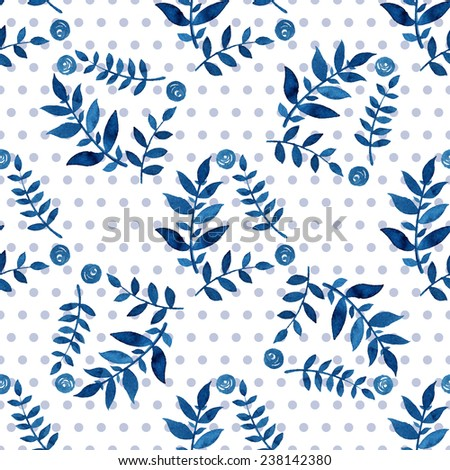 Seamless floral pattern. Blue twigs, leaves, foliage and little circles on a white background, watercolor, ink.