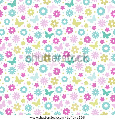 Seamless floral pattern. Colorful flowers and butterflies, white background. - stock vector