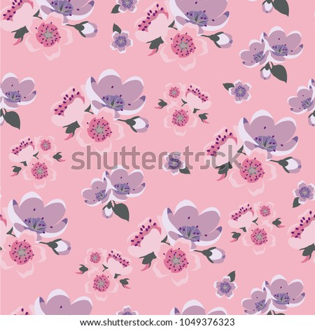 Cute Vintage Pattern With Plain Flowers For Textile Packaging Wallpaper