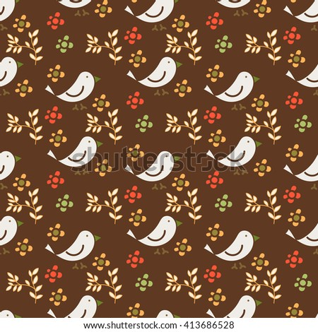 Seamless floral pattern, decorative pattern with white bird on brown background. Drawing for design books, Wallpaper, paper, greeting cards, invitations
