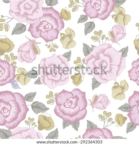 Seamless  floral pattern elements . rose, peony flowers. background and texture vector 9