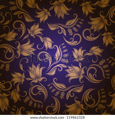 Seamless floral pattern. Flowers on a blue background. EPS10