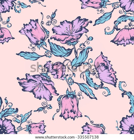 Seamless floral pattern. Flowers texture. blue, pink, rose, - stock vector